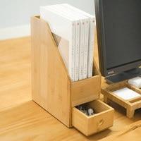 Creative office supplies desktop storage box with drawer A4 book bamboo storage box
