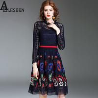 Women Lace Dress Navy Blue Fashion New 2017 Long Sleeve Hollow Out Knee Length Vintage Embroidery