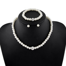 Pearl Jewelry Sets For Women Fashion Elegant Pearl Beads Wedding Bridal Necklace Earring Bracelet Costume Luxury Jewelery(China)