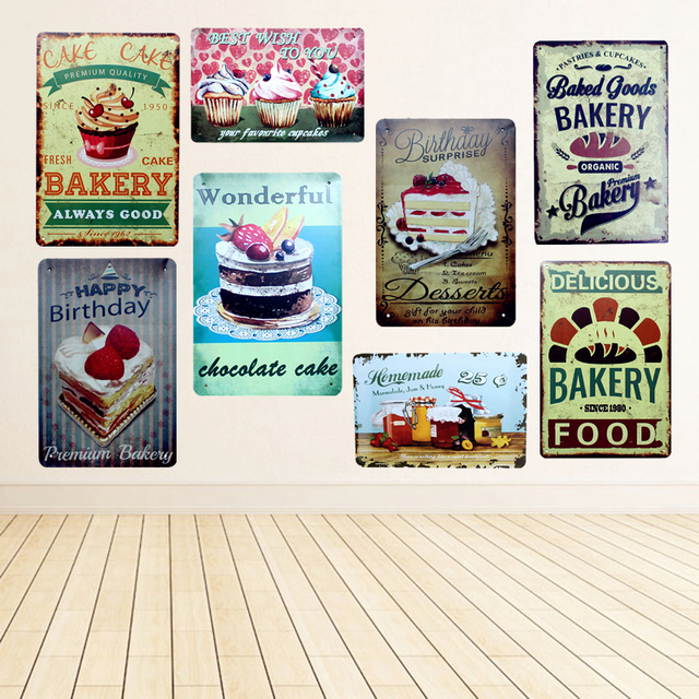 Happy Birthday Cake Delicious Bakery Food Metal Tin Signs For Bar Ice Cream Shop Home Decor Vintage Wall Poster YN003