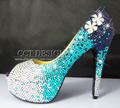 Handmade personalizado plataformas peep toe azul strass sapatos de salto alto sapatos de noiva sapatos de casamento das mulheres de cristal de luxo