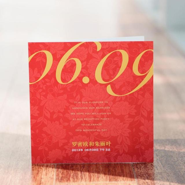 Chinese Red Photo Name Cover Printable Birthday Business Wedding Invitation Card Free Envelope Printing Freeshipping BHP01