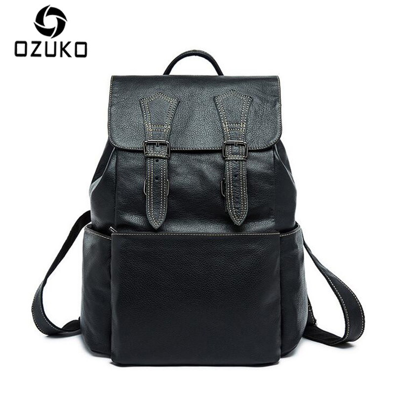 OZUKO 2018 Fashion Vintage Backpack Genuine Leather Men Bag High Quality Business Travel Backpack Laptop bag Casual Shoulder Bag цена