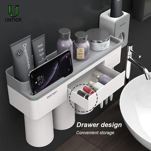 Image 3 - UNITOR plastik duvara monte diş fırçası tutucu otomatik diş macunu Dispenser tuvalet depolama raf banyo aksesuarları seti
