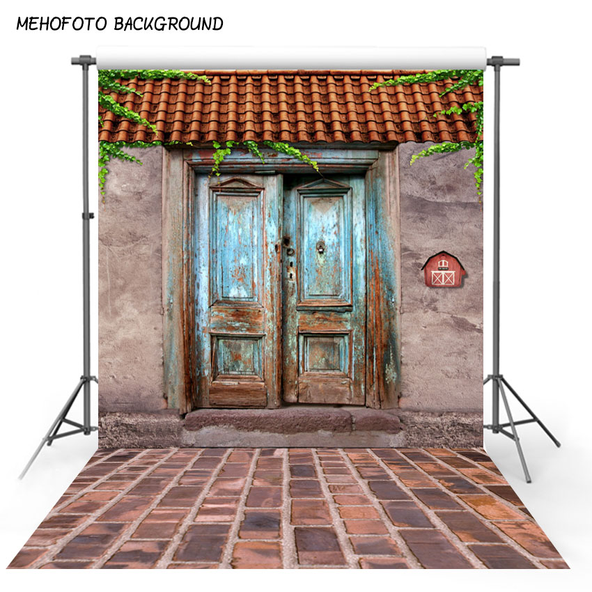 US $7 77 44% OFF|Blue old wood door photography backdrops reddish brown  tiles Roof photo background Digital Print Red brick wall ground S 113-in