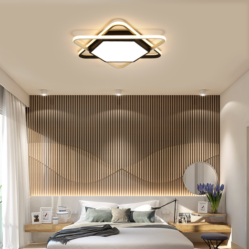 Nordic hexagonal led dome light  contemporary and contracted  wrought iron black and white children room bedroom study Ceiling Lights     - title=