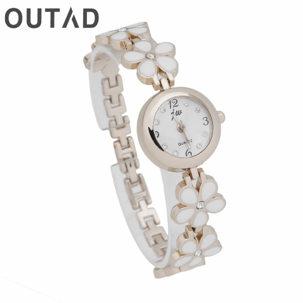 OUTAD Flower Watch 1st New Gold Daisies Rose Armband Armbandsur för Women Girl Gift Lady Quartz Klockor Relogio Feminino Gift