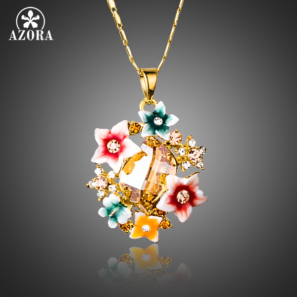 AZORA Multicolour Gorgeous Gold Plated Flower Stellux Austrian Crystal Oil Painting Pattern Pendant Necklace TN0174