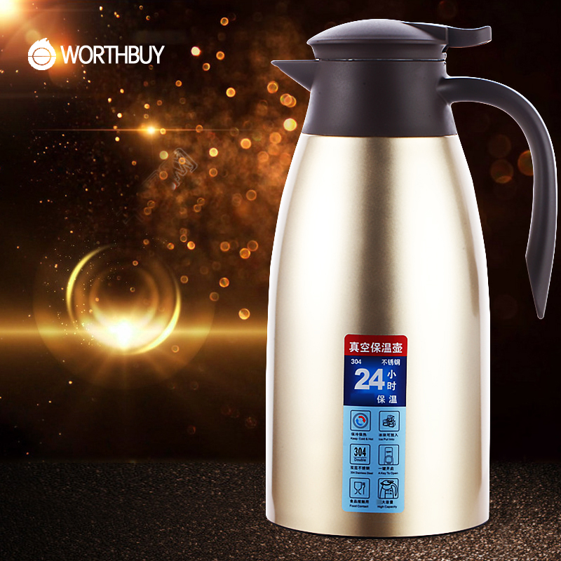 WORTHBUY Vacuum Insulation Thermal Kettle 304 Stainless Steel Thermo Jug Water Pot Thermos For Water Kitchen Drinkware