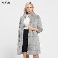 JKKFURS 2018 Новая мода реального кролика рекс Шубы На зимнем меху куртка длинное пальто для Для женщин верхняя одежда Высокое качество S7170