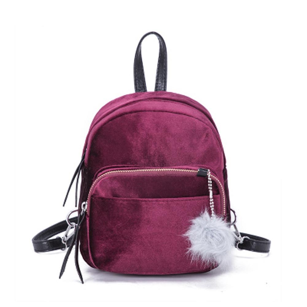 Kawaii Mini Backpack Bags Women Fur Ball Backpacks Velour Backpack Travel Backpacks Drop Shipper Rucksack Casual Daypack Bags#23
