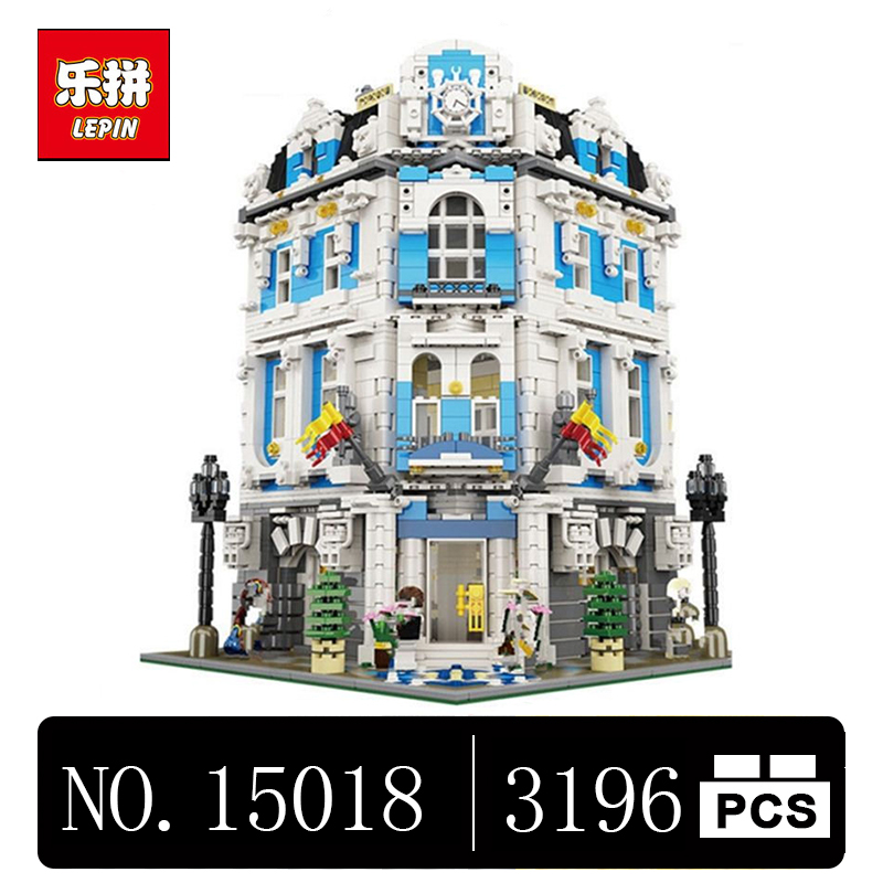DHL Lepin 15018 3196pcs MOC City Series The Sunshine Hotel Set Building Blocks Bricks Educational Toys lepin 15018 3196pcs creator city series sunshine hotel model building kits brick toy compatible christmas gifts