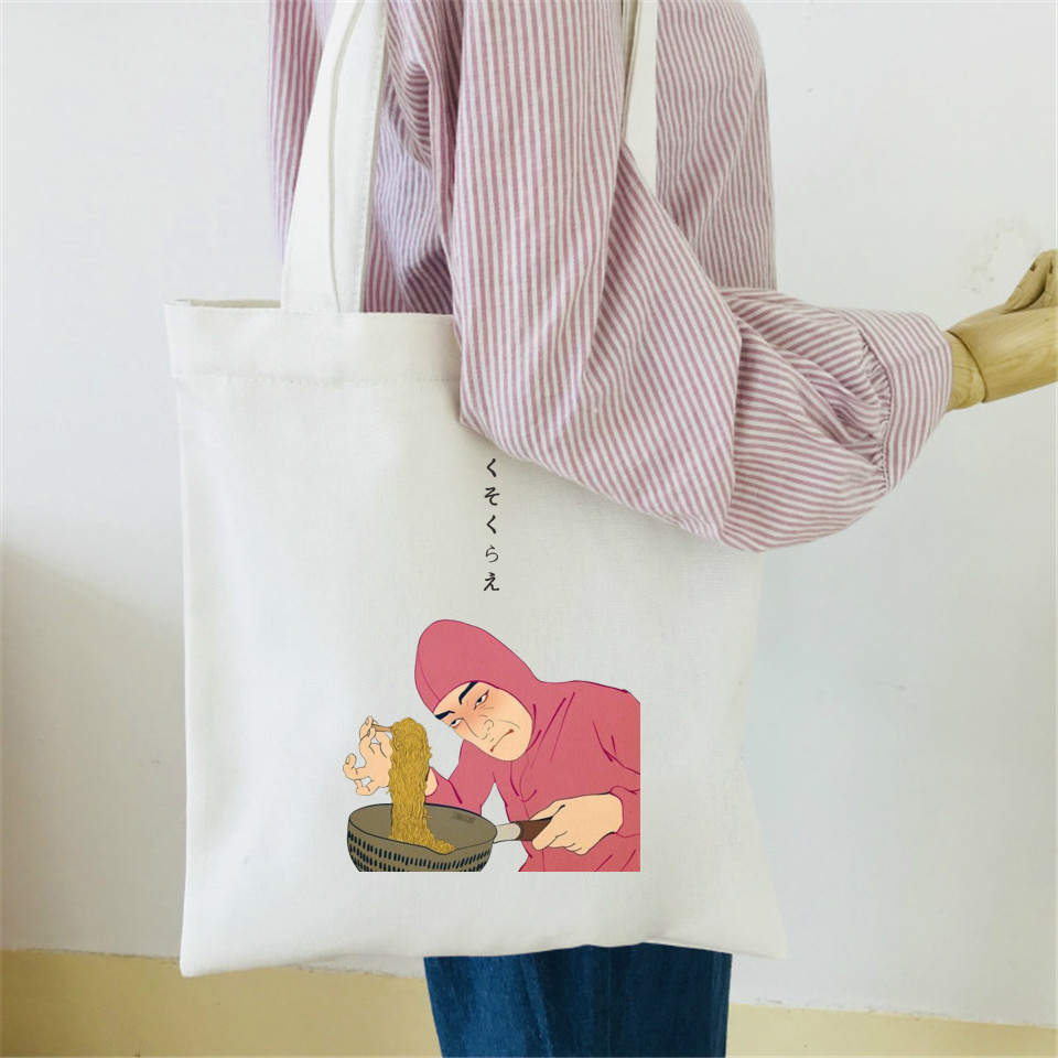2018 Rosa Guy Ramen Re VAPORWAVE stampa Borsa di Tela di Cotone Sacchetto Casuale Della Signora Spalla di Stile Giapponese Divertente Shopping Bag