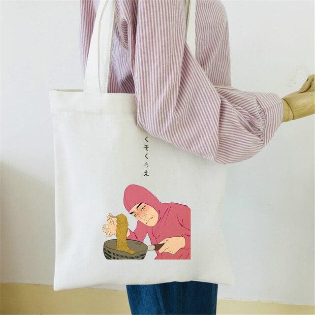 2018 rosa Guy Ramen König VAPORWAVE Leinwand Tasche druck Baumwolle Casual Tasche Dame Japanischen Stil Schulter Lustige Einkaufstasche