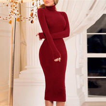Women Dress Turtleneck Bodyon Paty Dresses Knee -Length Long Sleeve Slim Fit Skinny Spring 2019 SJ1555F