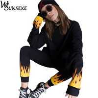 Two Piece Set Fire Flame Print Tracksuits for Women Workout Suits Long Sleeve Top and Elestic Waist Pants Casual Streetwear Sets