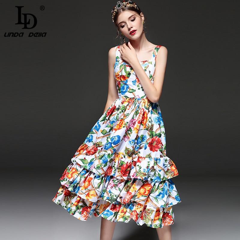높은 품질 새로운 2019 패션 디자이너 활주로 여름 드레스 여성 스파게티 스트랩 계층화 된 프릴 캐주얼 꽃 프린트 드레스-에서드레스부터 여성 의류 의  그룹 1