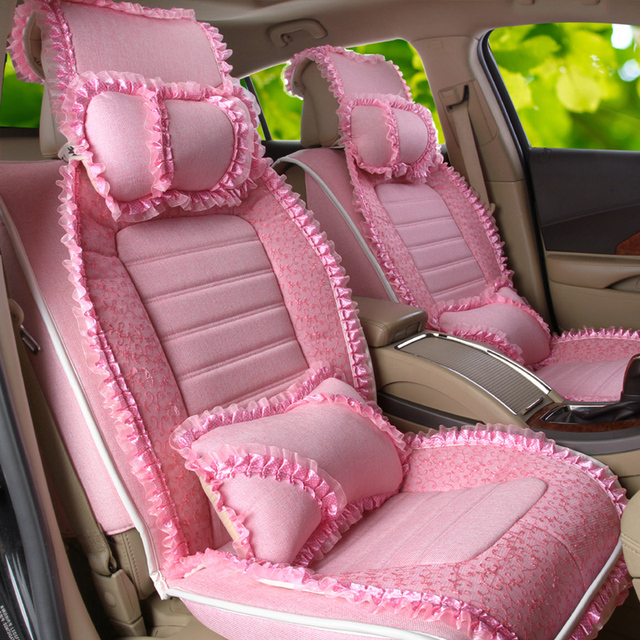 Princess Lace Pink Lady Car Seat Covers Sedan Chairs Decoration Womens Girls Bridals Seats Cover
