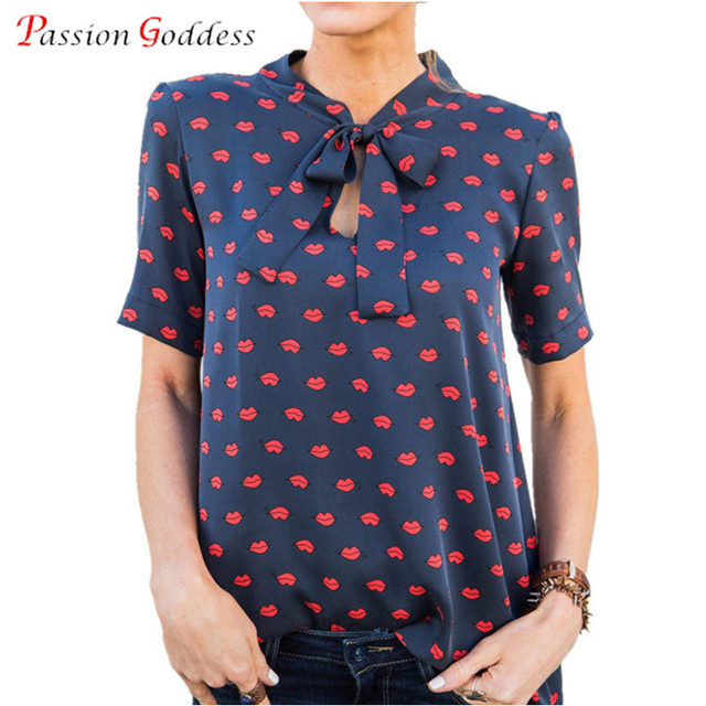 41ab5bf36a4d 2019 Summer Large Size 3XL Women Chiffon Blouse Shirt V neck Short Sleeve Bow  tie Red lips Print Casual Black White Blouses Tops