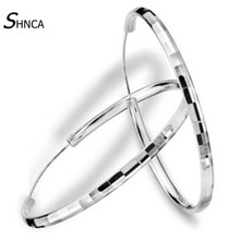 New 925 Sterling Silver Jewelry Simple Hyperbole Fashion Square Big Circle Charm Bar Hoop Earrings For Women Pendientes E102