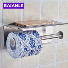 Free shipping Wholesale And Retail Stainless steel  Toilet Roll Paper Rack wiht Phone Shelf Wall Mounted Bathroom Holder
