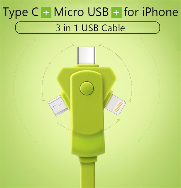 3 in 1 8pin Micro USB Cable Type-C Data Sync Charge Cable For Phone 7 7plus 6s 6 5s 5 SE For Samsung S6 S7 Huawei P9 Type C Cabo