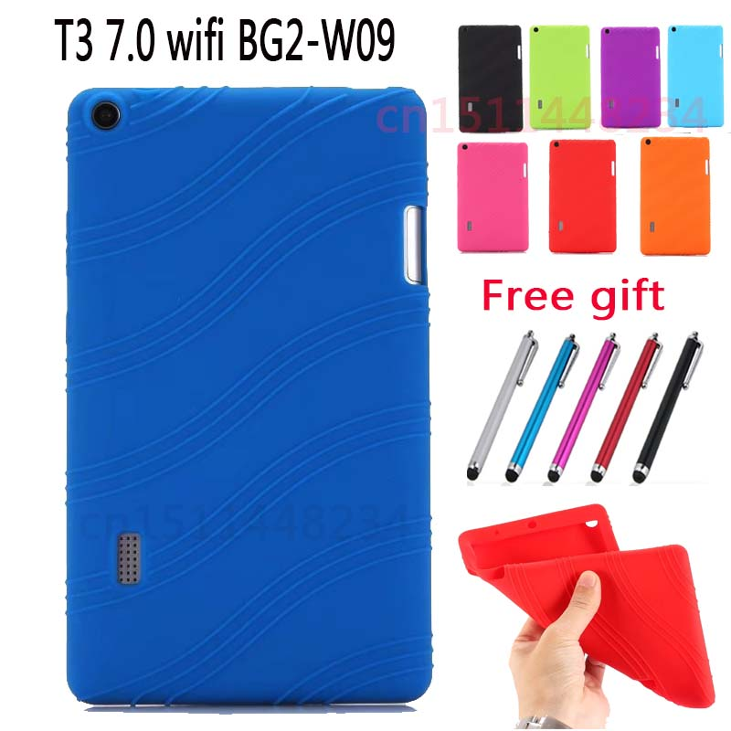 Shockproof Soft TPU Silicone Case For Huawei MediaPad T3 7.0 BG2-W09 Non-slip Wave Pattern Smart Cover For Huawei T3 7 wifi +pen baseus guards case tpu tpe cover for iphone 7 plus blue