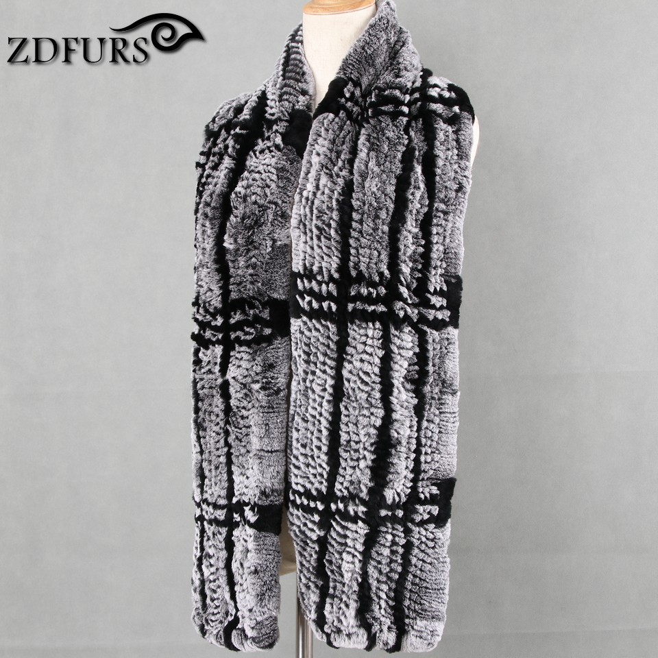 FXFURS 2019 new High quality Genuine Rex Rabbit Fur Women's Long Knitted  Scarves Wraps Soft Warm
