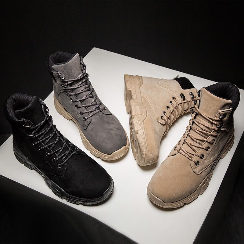 Chaussures De Bottes Cuir New Hommes Plein Cheville 2018 Caoutchouc Classic Occasionnels Top Air Martin Mode noir En Beige Confortable gris Hiver High IxfqYUwF