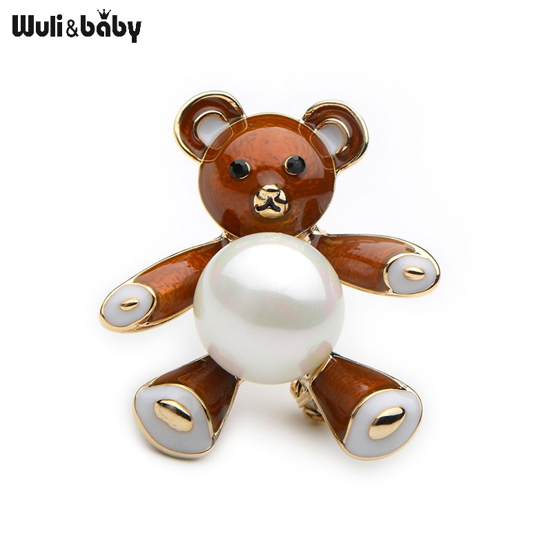 Wuli&Baby Cute Simulated Pearl Brown Black Purple Color Enamel Bear For Women And Men Alloy Animal Broche New Years Gifts