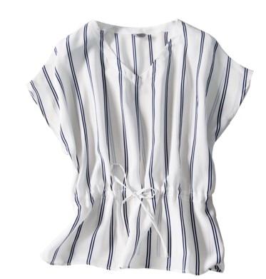 Шелковая куртка для женщин, новинка весны 2019, черная и белая полосатая футболка с коротким рукавом, шелковая свободная футболка большого ра