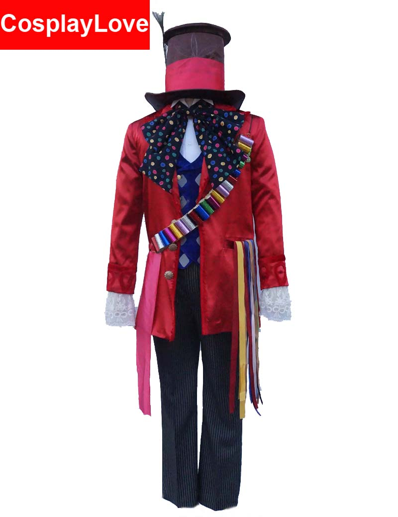 2016 American Fantasy Adventure Film Alice in Wonderland 2 Mad Hatter Cosplay Costume For Adult Christmas Halloween