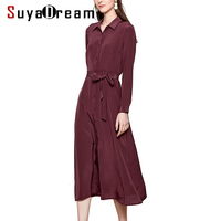 SuyaDream Woman Solid Long Silk Dress 100%Silk Elegant Sash Office Lady Shirt Dress Women 2020 Spring Autumn Work Blouse Dresses