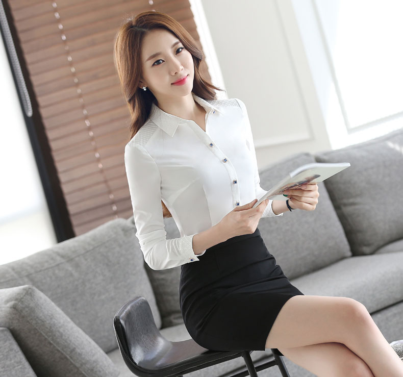 4ff1e37d41 Novelty White Formal Professional Work Suits Spring Autumn Long Sleeve With  2 Piece Skirt And Blouses Ladies Shirts Tops Outfits-in Skirt Suits from  Women's ...