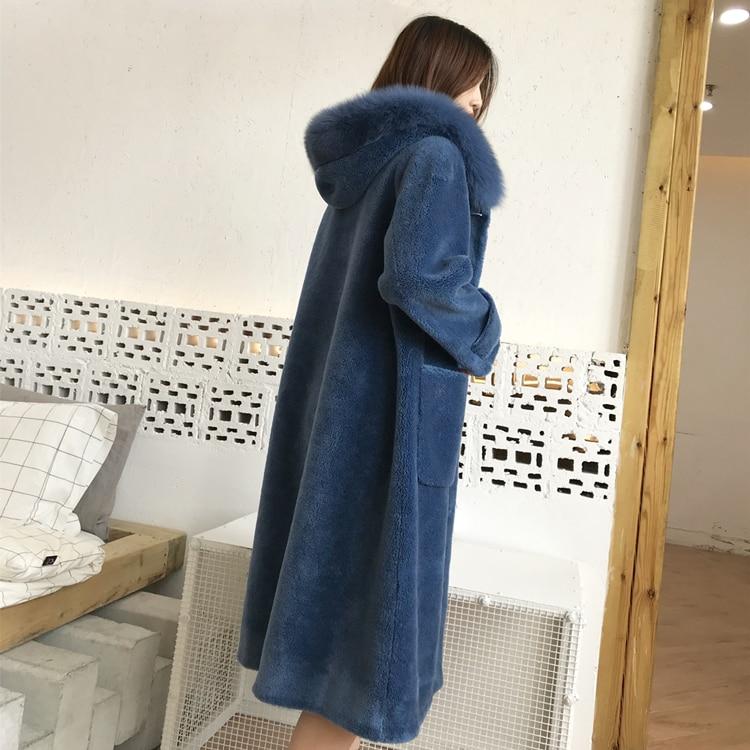 À blue gris D'hiver Lx2599 Veste Mujer Fourrure Réel Femelle Moutons Beige Tonte Des Longue De Véritable Laine Abrigo Capuche Renard Femmes Manteau Col Fwxqa1BO