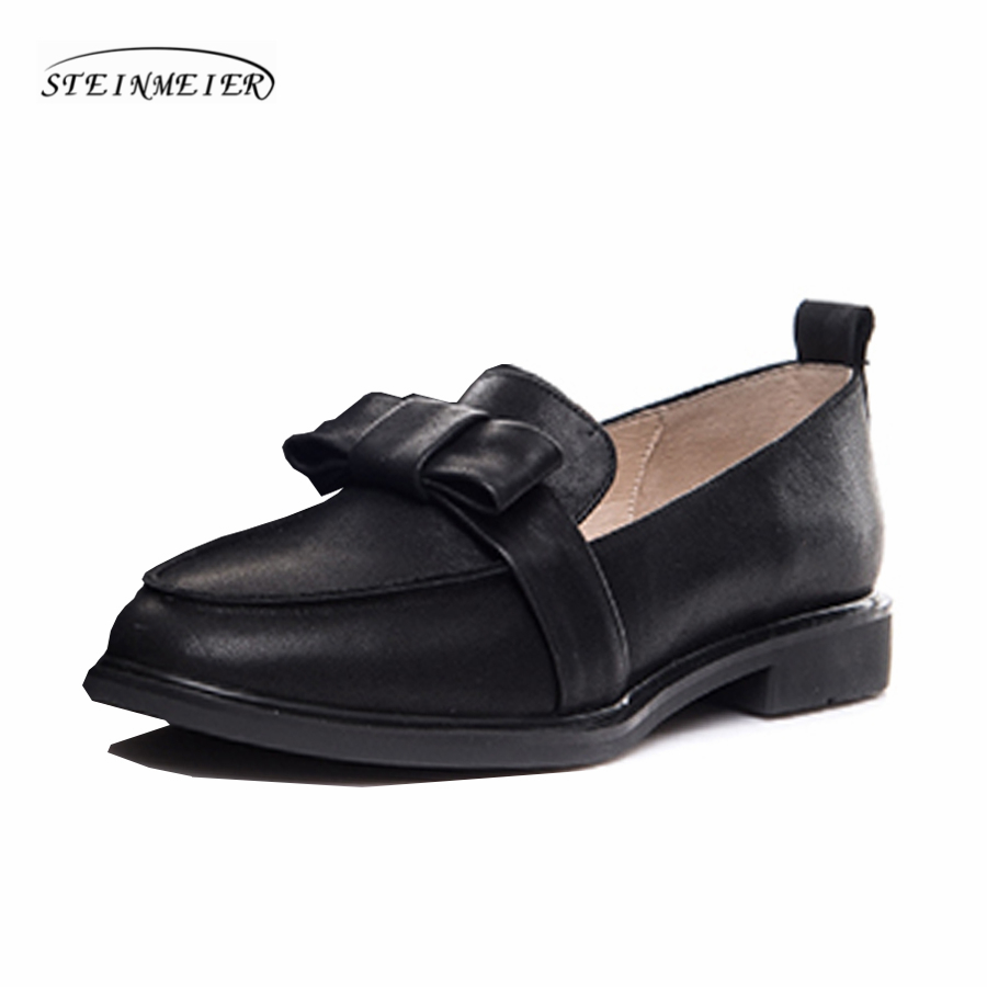 Women genuine leather flat loafers shoes handmade bow black wine red leather casual buckle comfortable loafer oxford shoes