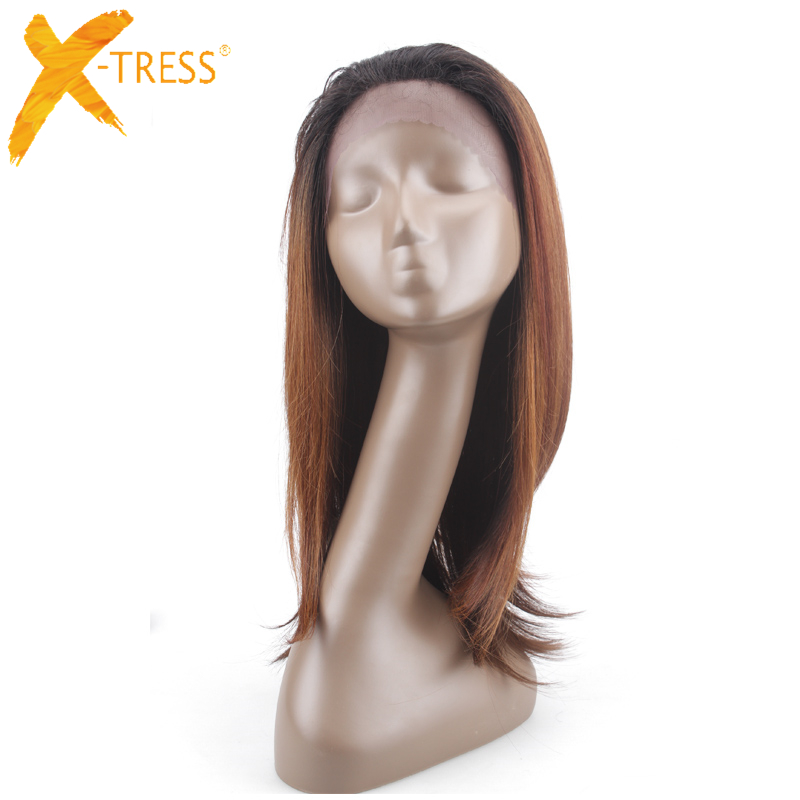 Brown To Blonde Ombre Synthetic Wigs For Black Women 20 Inch Straight Heat Resistant Hair 1.5*13.5 Inch Peruca Front Lace Wig
