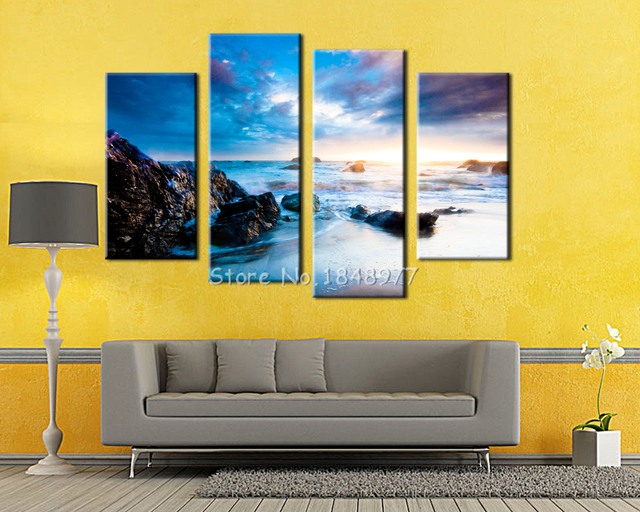 4 Piece Sunset Seascape With Sea Stones Modern Home Wall Art HD ...