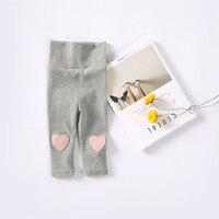 6 M-24 M Bebek Giyim Pantolon Kız Bebek Giysileri Pamuk Aşk Kalp Yama Tozluk Yüksek Bel Pantolon Sonbahar Bebek Kız Tayt için