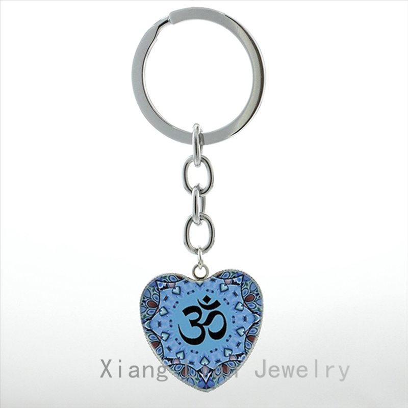 Glass Cabochon OM NAMASTE MANDALA pendant necklace with silver plated chain