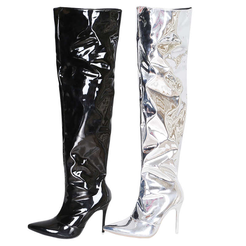 3b606d49390f ... Sexy Silver Mirror Thigh High Boots Women T Show Pointy Toe Club Party  Shoes Thin High ...