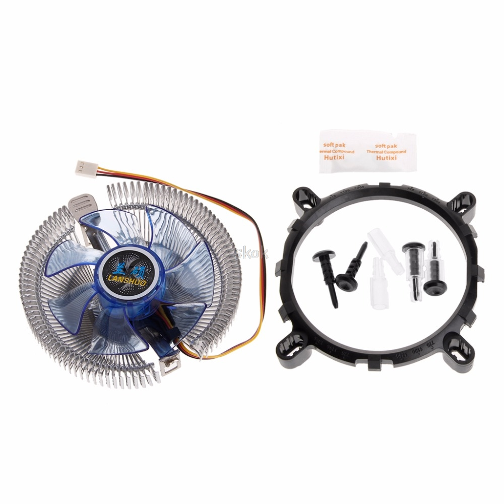 Fan Cooling Intellective Cpu Cooler Fan Heat Sink Radiator Fans Blue Light Led For 775 1150 May28 Dropshipping Packing Of Nominated Brand