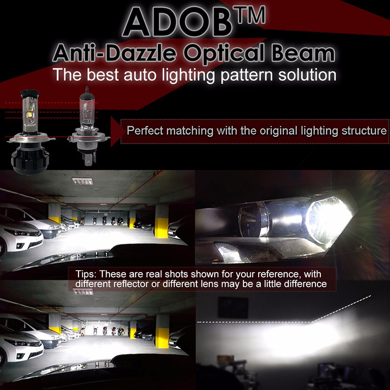 12000LM Super Bright Car LED Headlight Kit H4 HB2 9003 H13 9007 with Cree Chips Replace Bulb with Anti-Dazzle Beam 3000K 4300K 6000K (8)