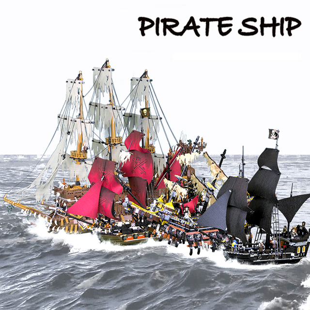 In Stock 16002 16006 16009 16016 16042 22001 Movie Series Pirates Of Caribbean Ships Models Toys Building Blocks Bricks 70618 1