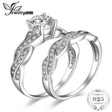 JewelryPalace 925 Sterling Silver Infinity X Simulated Diamond CZ Wedding Bands Anniversary Promise Engagement Ring Bridal Sets(China)