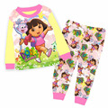 Wholesale Girls Pink Dora Pajamas Sets Kids Cartoon Clothes For 2-7Y 8899
