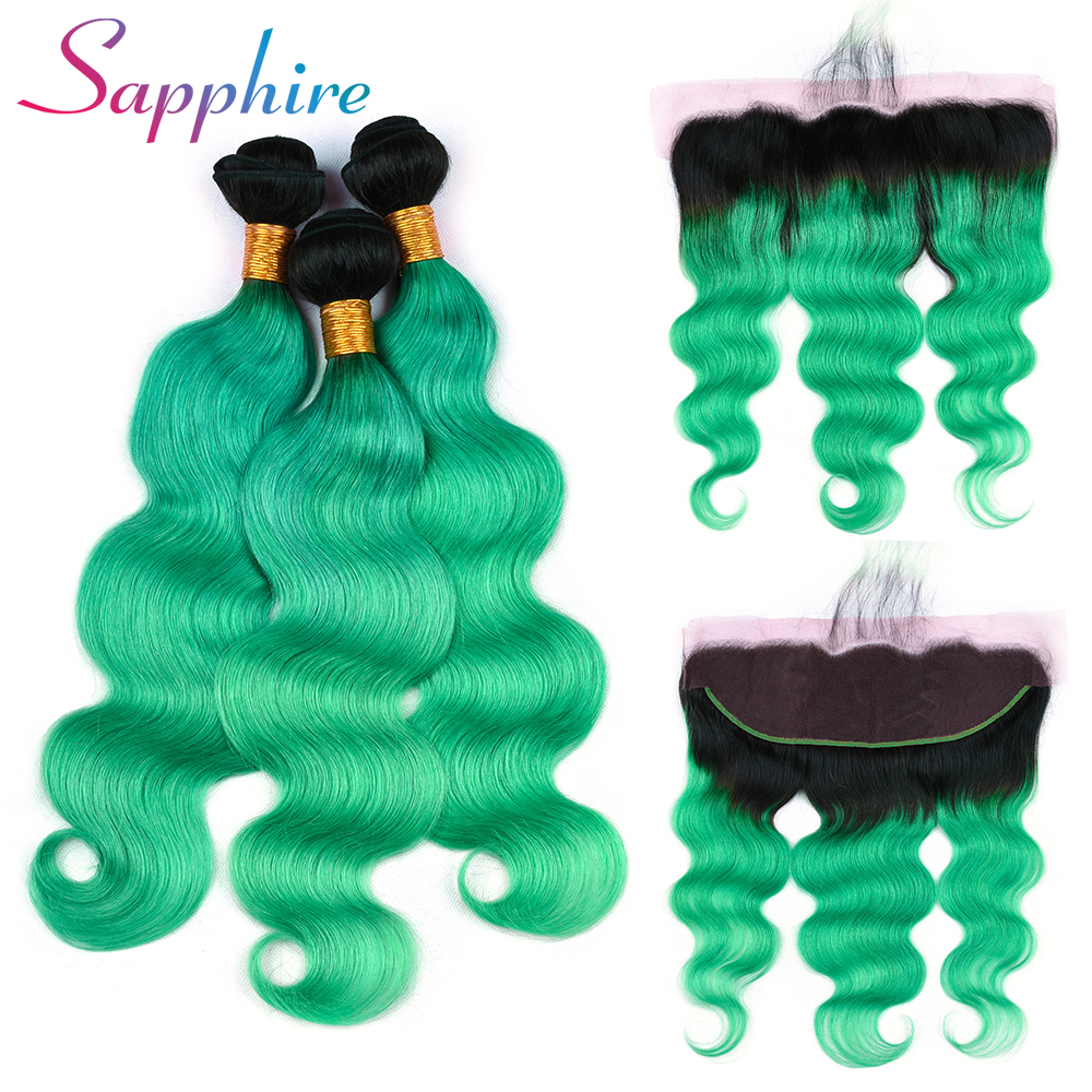 Sapphire Hair Brazilian Body Wave Human Hair Bundles with Frontal Closure Ombre Remy Hai ...