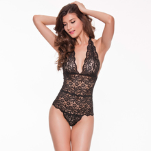 96126eb9a82 Sexy Transparent Catsuit Women Scalloped Lace Teddy Lingerie Bodysuit Deep  V High Cut Backless See-