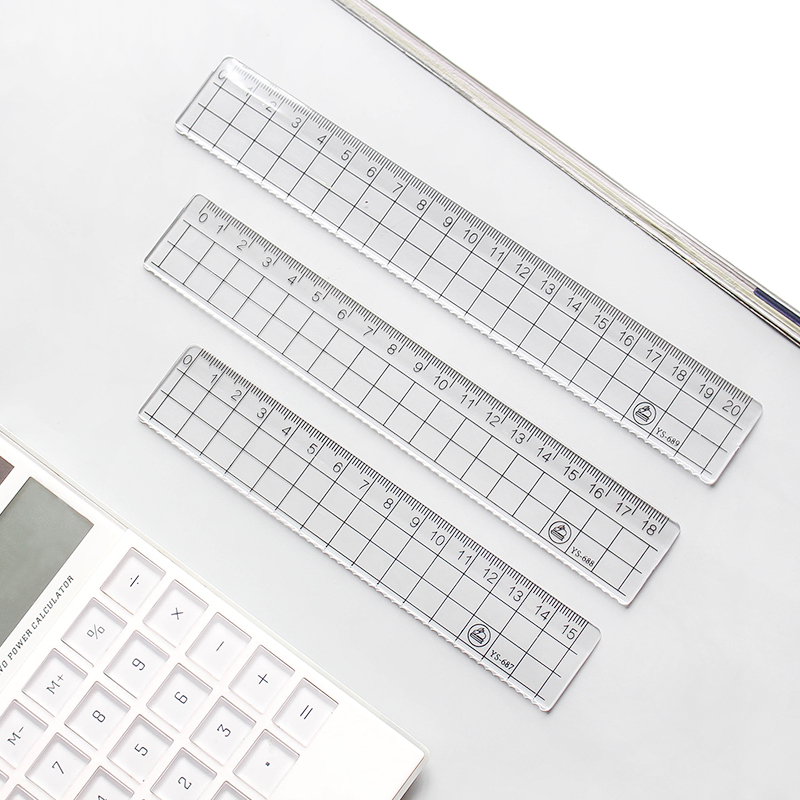 1pcs Simple 15cm 18cm 20cm Transparent Acrylic Ruler Square Ruler Measuring Tool Stationery Drawing Supplies