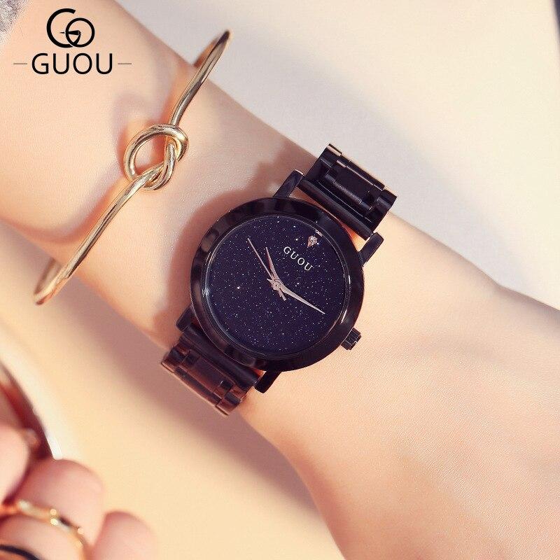 Clássico simples banda de aço preto relógios das mulheres estrela da moda tendência de marcação pequena senhora relógios com diamante relógios de pulso